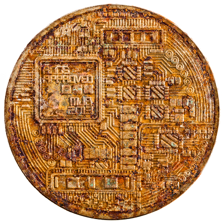 closeup on backface bitcoin rusty and old isolated