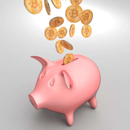 classic piggybank and golden bitcoin coin 3d rendering image Stock Photo