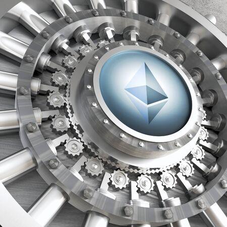 decentralized: crypto currency concept bank ethereum vault door 3d rendering image