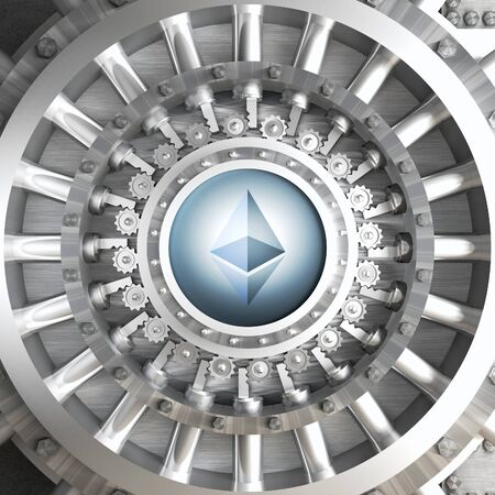 crypto currency concept bank ethereum vault door 3d rendering image
