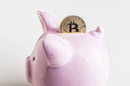 classic pink piggybank and golden bitcoin