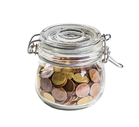 classic glass jar and euro coin Stock Photo