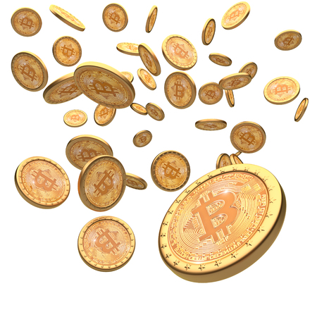 Bitcoin golden coin 3d rendering image Banque d'images - 79540585