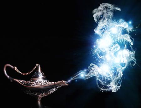 aladdin lamp on black background Stockfoto