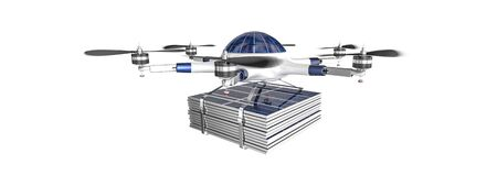 enviroment: modern drone with solar panel 3d rendering image Stock Photo