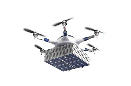 modern drone with solar panel 3d rendering image Stock Photo
