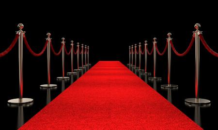 rood tapijt en gouden barrière 3d teruggevend beeld