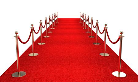 Tapete vermelho e imagem de renderização de 3d barreira dourada Foto de archivo - 81893259