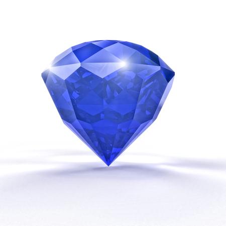 blue sapphire gem 3d rendering image