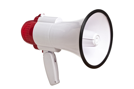 red and white megaphone isolated