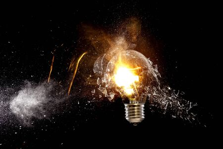 real explosion of classic electric bulb high speed photo Stock Photo