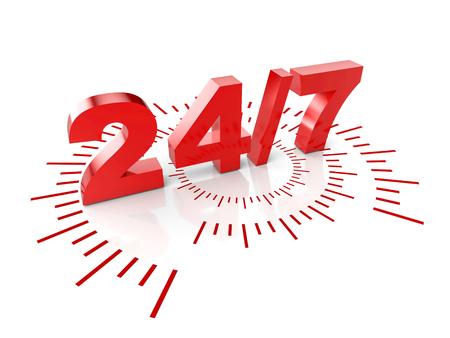 24 heures de service image de rendu 3D Banque d'images
