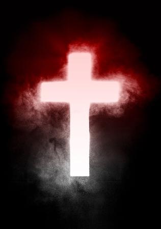 light cristian cross and powder