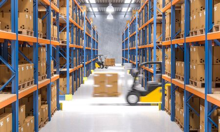 warehouse and forklift in action 3d rendering image Stock Photo