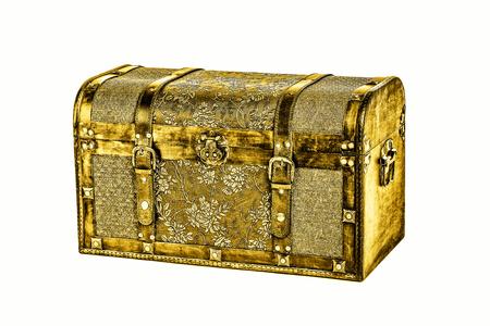 antique golden coffer isolated on white Stockfoto