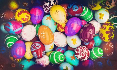 grunge image of painted easter eggs 3d rendering image