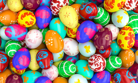 lots of artistic painted easter eggs 3d rendering image Stock Photo