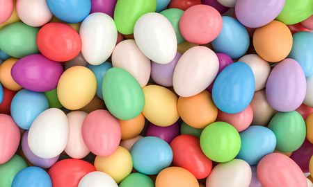lots of different colorful eggs 3d rendering image