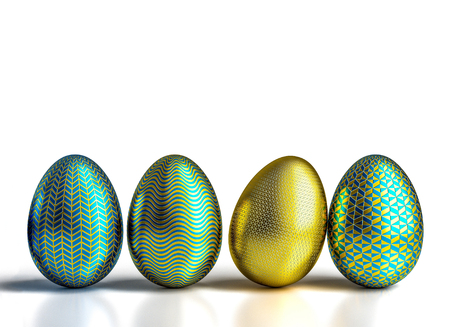 decorated geometric easter eggs 3d rendering image Stock Photo