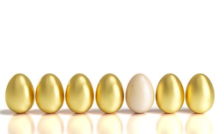 different golden easter eggs 3d rendering image