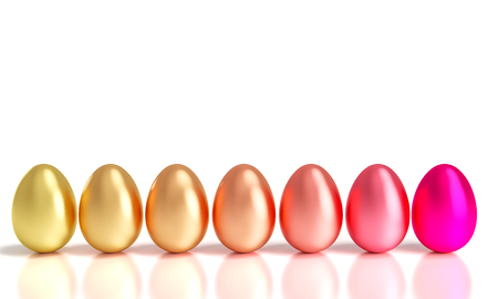 gradation of easter golden eggs 3d rendering image