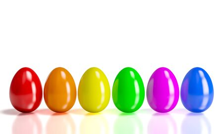 colorful easter eggs 3d rendering image