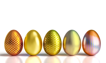decorated golden easter eggs 3d rendering image 스톡 콘텐츠