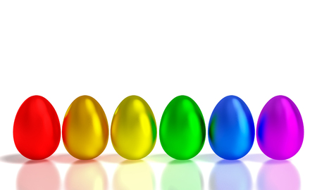 rainbow metal easter eggs 3d rendering image Stock Photo