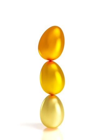 golden easter eggs on white background 3d rendering image