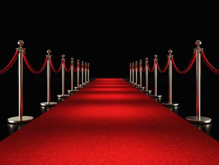 classic red carpet 3d rendering image Archivio Fotografico