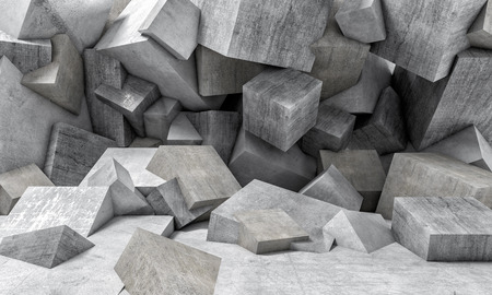 abstract concrete cubes wall background 3d rendering image