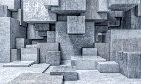 cube concrete abstract background 3d rendering image Imagens