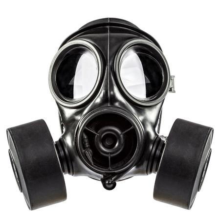 Gas mask double filter on white background Archivio Fotografico