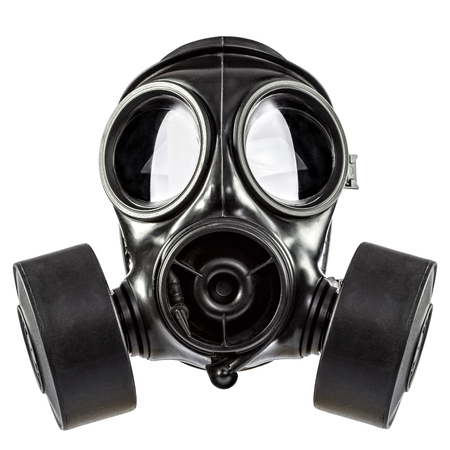 Gas mask double filter on white background Standard-Bild