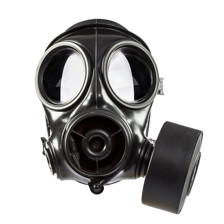 army gas mask isolated on white background Foto de archivo