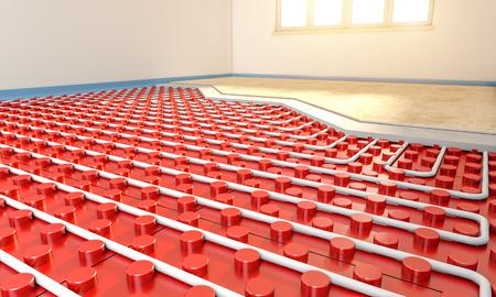 installazione radiante del pannello di pavimento nella stanza vuota immagine della rappresentazione 3d Archivio Fotografico