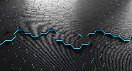 hexagon carbon fiber background 3d rendering image