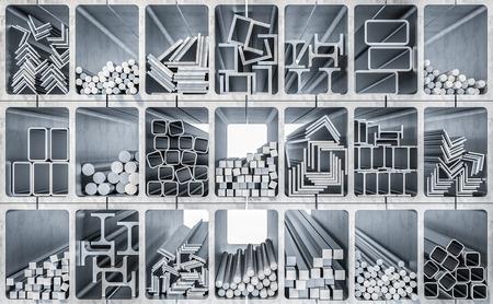 3D-Rendering-Bild der Metallprofilproduktion Standard-Bild