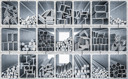 Image de rendu 3D de production de profilés métalliques Banque d'images