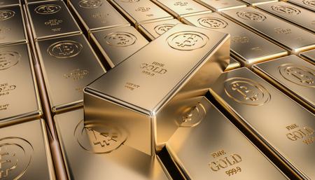 golden bitcoin ingot 3d rendering image