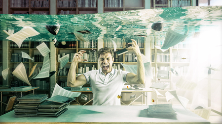 stressed student and flooded library abstract image