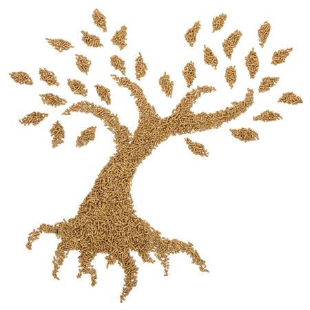 wood pellet tree isolated on white background