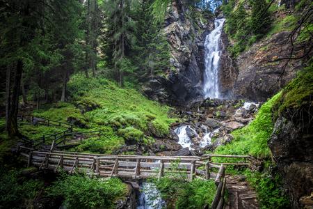 saent waterfall in trentino alto adige, italian alps