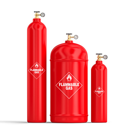 3d image, different kind of gas cylinders Stock Photo