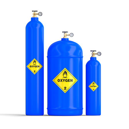 3d image of gas oxygen cylinders on white background