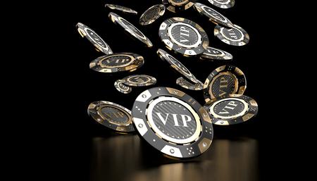 Imagen de renderizado 3D de chip vip dorado y carbono con diamante