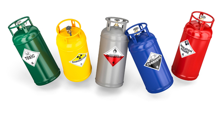 different dangerous cylinder container 3d rendering image Stock Photo