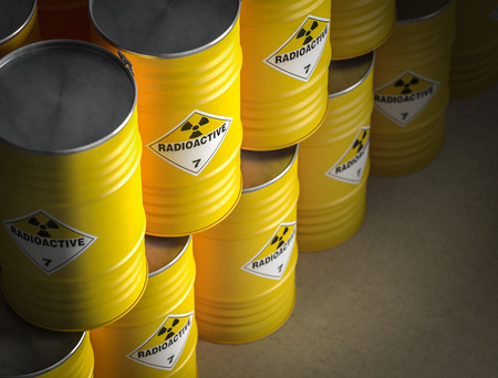 radioactive yellow barrel 3d rendering image Archivio Fotografico