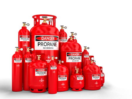 Different propane cylinder container 3d rendering image