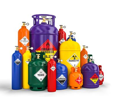 Different dangerous cylinder container 3d rendering image Foto de archivo - 109729432